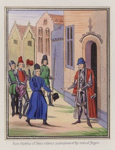Lord Charles Of Blois obtains possession of the town of Jugon. Illustration for Chronicles by Sir John Froissart translated by Thomas Johnes (William Smith, 1839). Beautifully hand-coloured engravings.