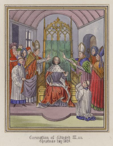 Coronation of King Edward III on Christmas day 1326. Illustration for Chronicles by Sir John Froissart translated by Thomas Johnes (William Smith, 1839). Beautifully hand-coloured engravings.