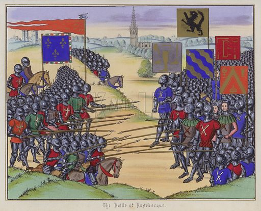 The Battle Of Rosebecque. Illustration for Chronicles by Sir John Froissart translated by Thomas Johnes (William Smith, 1839). Beautifully hand-coloured engravings.