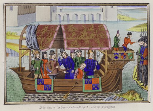 Interview on the Thames between King Richard II and the Insurgents. Illustration for Chronicles by Sir John Froissart translated by Thomas Johnes (William Smith, 1839). Beautifully hand-coloured engravings.