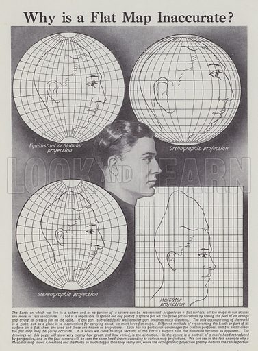 Why is a flat map inaccurate? Illustration for Everybody's Enquire Within (Amalgamated Press, c 1937).