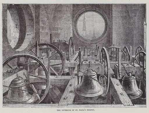 The interior of St Paul's Cathedral belfry. Illustration for The Fireside Pictorial Annual, 1894.
