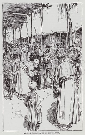 Taking photographs in the bazaar. Illustration for The Fireside Pictorial Annual, 1894.