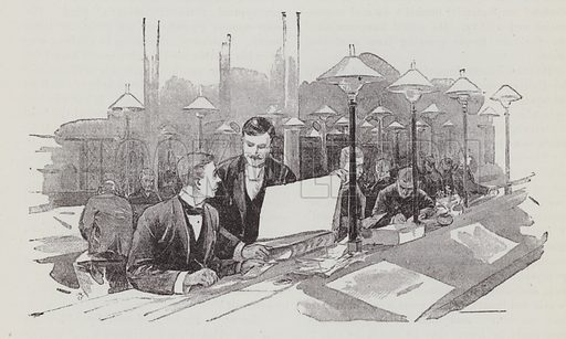 Clerks at work. Illustration for The Fireside Pictorial Annual, 1894.