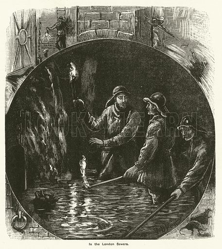 In London Sewers. Illustration for The Boy's Own Annual, 1881.