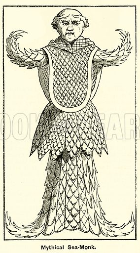 Mythical sea monk. Illustration for The Boy's Own Annual, 1881.