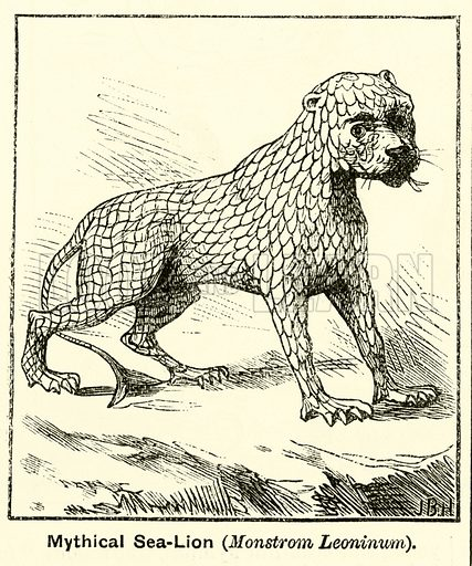 Mythical sea lion. Illustration for The Boy's Own Annual, 1881.