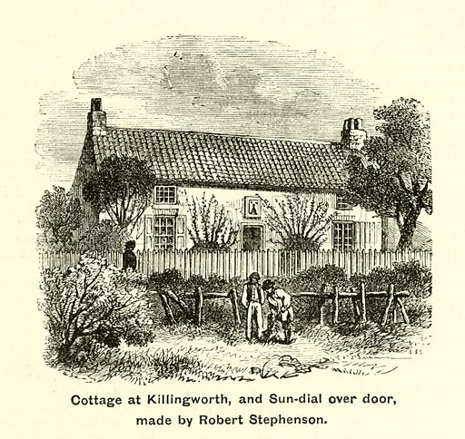 Cottage at Killingworth, and Sun-dial over door, made by Robert Stephenson. Illustration for The Boy's Own Annual, 1881.