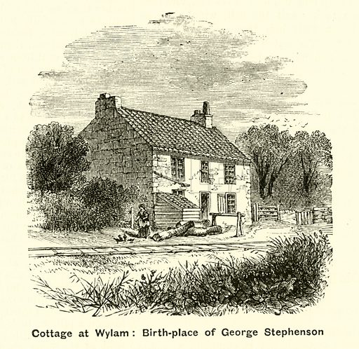 Cottage at Wylam, birthplace of George Stephenson. Illustration for The Boy's Own Annual, 1881.