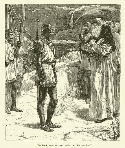 Sir William Wallace before the Battle of Stirling Bridge. Illustration for The Boy's Own Annual, 1881.