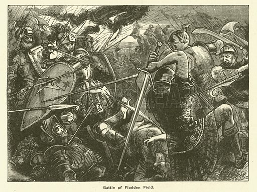 Battle Of Flodden Field. Illustration for The Boy's Own Annual, 1881.