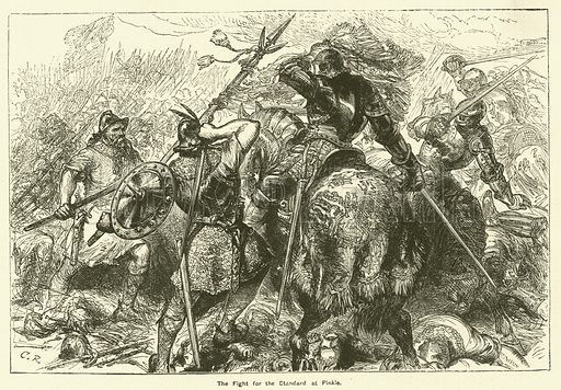 The fight for the standard at Pinkie. Illustration for The Boy's Own Annual, 1881.