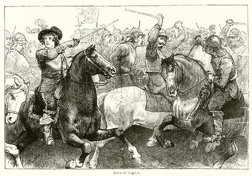 The Battle Of Edgehill. Illustration for The Boy's Own Annual, 1881.