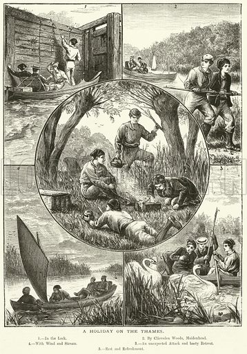 A holiday on the Thames. Illustration for The Boy's Own Annual, 1881.