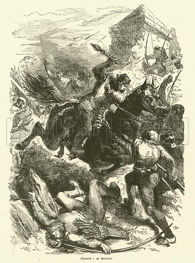 King Edward I at the siege of Berwick. Illustration for The Boy's Own Annual, 1881.