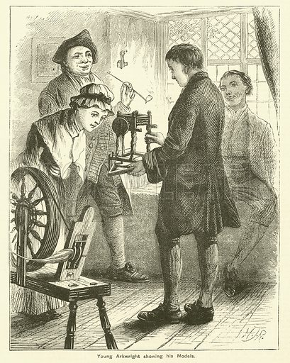 Young Richard Arkwright showing his models. Illustration for The Boy's Own Annual, 1881.
