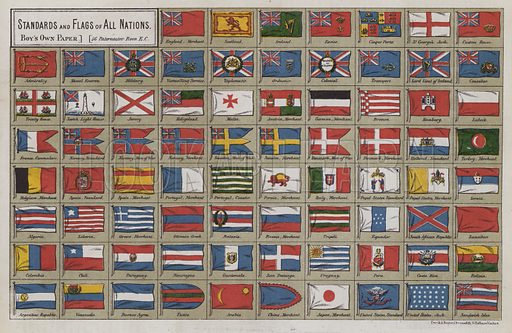 Standards and flags of all nations. Illustration for The Boy's Own Annual, 1881.
