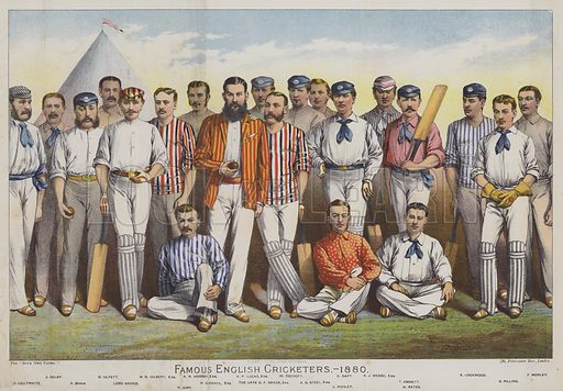 Famous English Cricketers, 1880. Illustration for The Boy's Own Annual, 1881. Image slightly retouched at bottom.