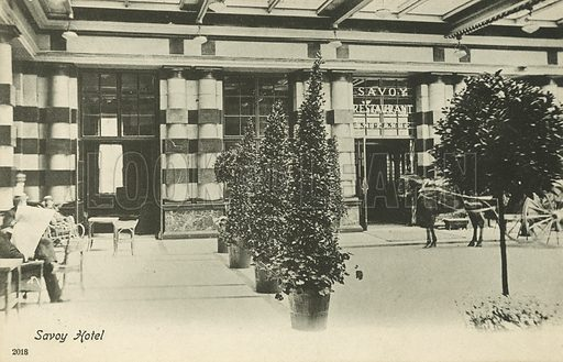 Savoy Hotel, London. Postcard, early 20th century.