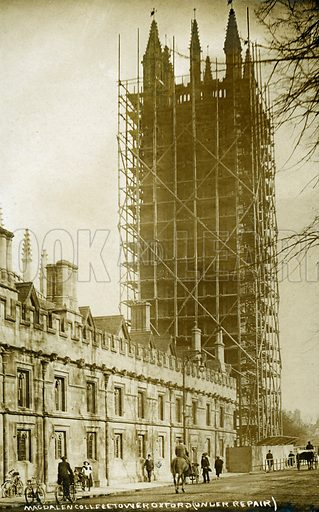 Magdalen College Tower under repair, Oxford