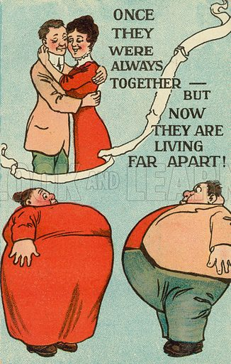 Living apart. Postcard, early 20th century.