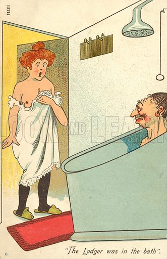 The lodger was in the bath. Postcard, early 20th century.
