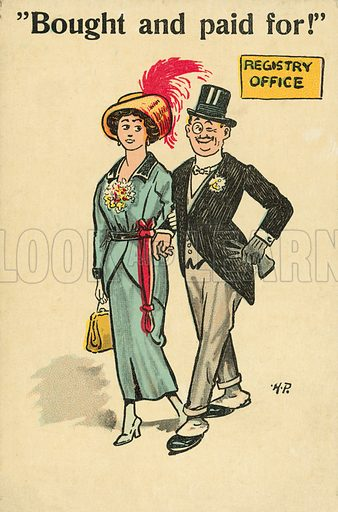 Bought and paid for! Postcard, early 20th century.
