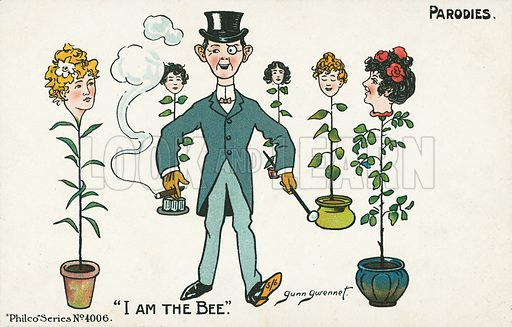 I am the bee. Postcard, early 20th century. Signed: Gunn Gwennet.