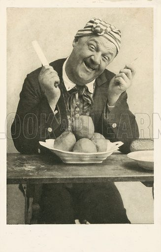Eating can be amusing too! Postcard, early 20th century.