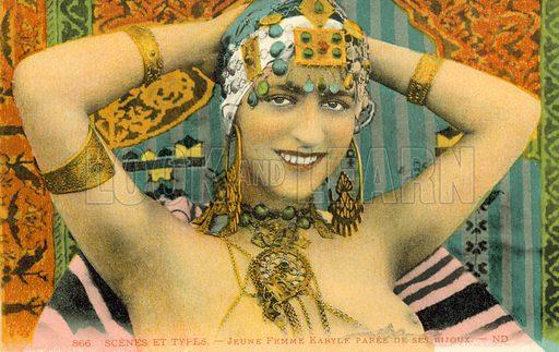 Jeune Femme Kabyle Paree de Ses Bijoux. Postcard, early 20th century.