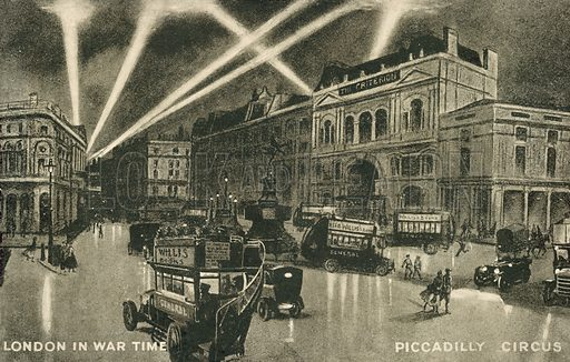 Piccadilly Circus, London, in wartime, First World War