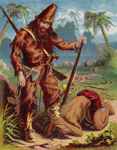 Illustration for Robinson Crusoe in Words of One Syllable by Mary Godolphin (McLoughlin, 1869).  Wonderfully vibrant image.