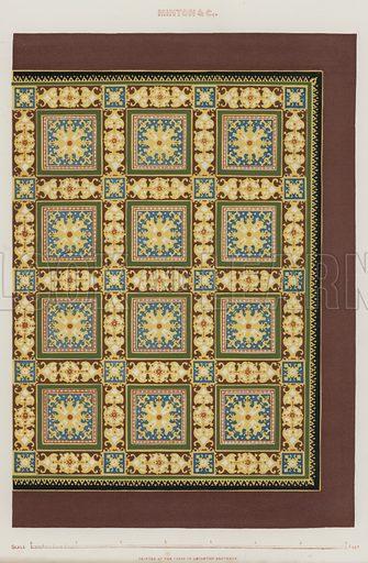 Minton tiles.  Illustration for The Art Journal, 1851,.