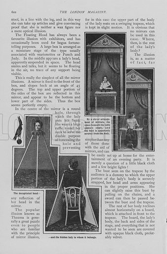 Page from article on Famous Illusions Exposed, 1903.  Illustration for the London Magazine, Volume 8 (1903).