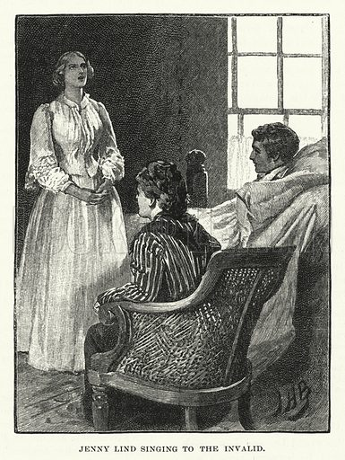 Jenny Lind, singing to the invalid.  Illustration for The Quiver, 1893.