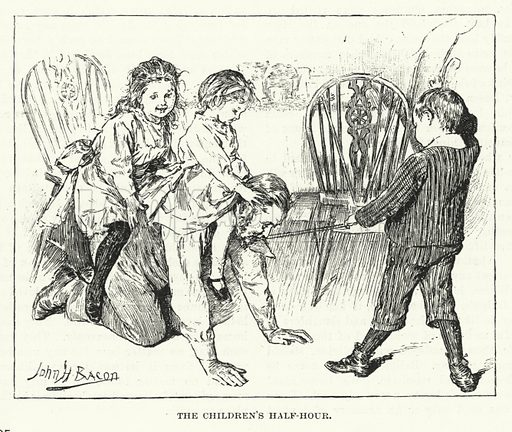 The children's half hour - playing with their father.  Illustration for The Quiver, 1893.