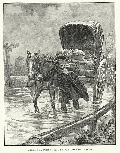 John Wesley's journey in the fen country.  Illustration for The Quiver, 1893.