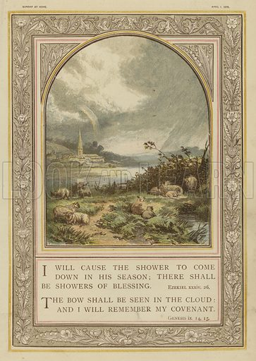 Bible, rain showers and rainbows, Ezekiel, Genesis.    Illustration for Sunday at Home, 1870/71.