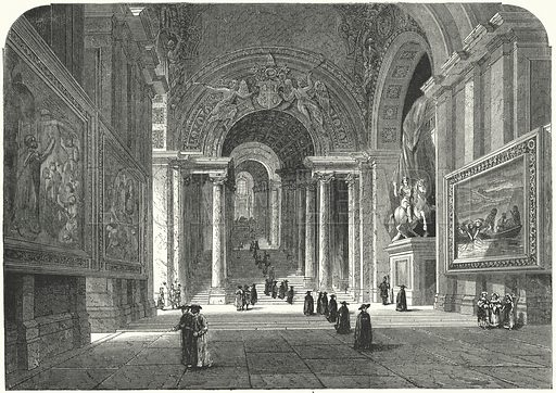 Scala Regia, Vatican, Rome.  Illustration for Sunday at Home, 1870/71.