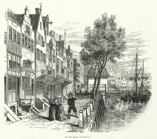 On the quay, Leyden.  Illustration for Sunday at Home, 1870/71.