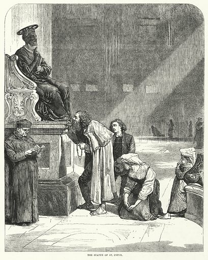 Vatican, St Peter's, kissing the toes of the statue of St Peter.  Illustration for Sunday at Home, 1870/71.