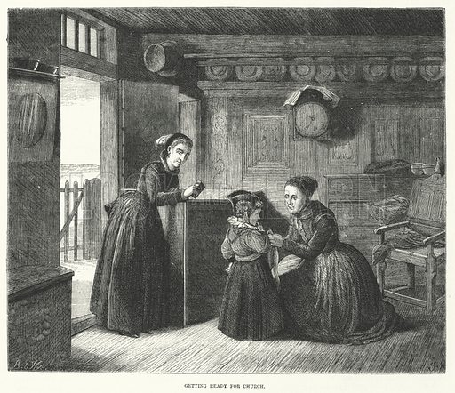Sunday, getting ready for Church in Denmark.  Illustration for Sunday at Home, 1870/71.
