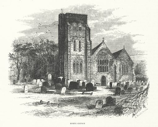 Herne Church.  Illustration for Sunday at Home, 1870/71.