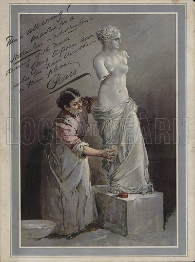 Woman washing the Venus De Milo with Pears Soap