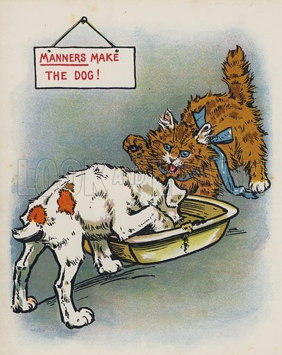 Manners Make The Dog. Illustrations for an unidentified children's annual, early 20th century.
