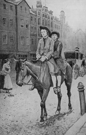 James Watt, who did so much to quicken up travel, riding into London on a horse