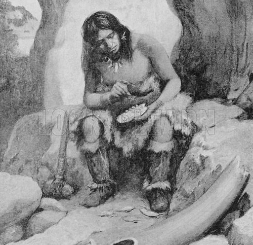 A prehistoric artist scratching a picture on bone