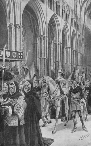 The steeds of King Henry V follow his coffin up the nave.  Illustration for an early edition of The Children