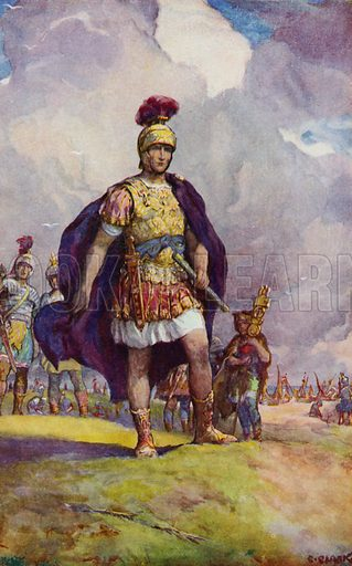 Julius Caesar arriving in Britain, looking out across the face of Kent