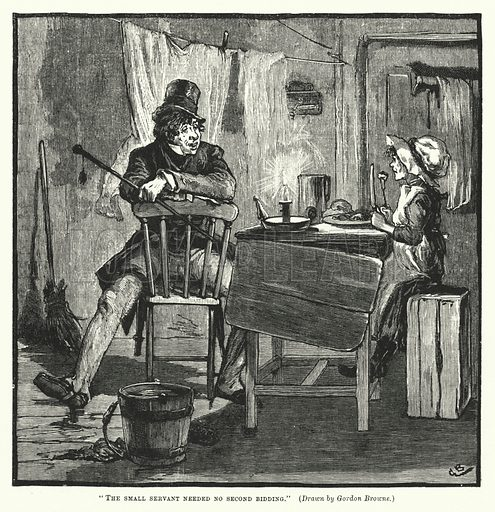 The small servant needed no second bidding.  Illustration for Gleanings from Popular Authors (Cassell, 1883).